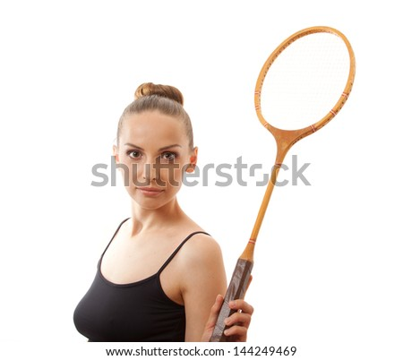 girl with a badminton racket, isolated on white