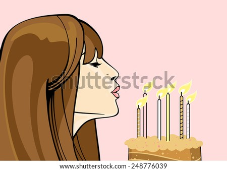 Girl with a birthday cake (raster version) - stock photo