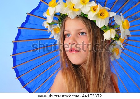 girl with a blue Japanese umbrella