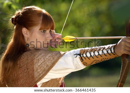 Girl with a bow - stock photo