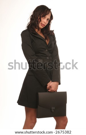 girl with a brief-case - stock photo
