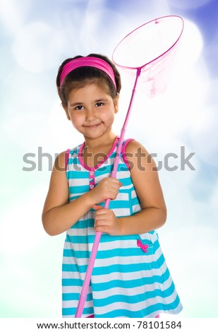 girl with a butterfly net. Isolated on blue