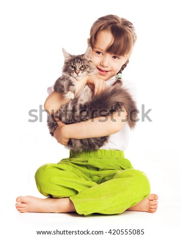 girl with a cat isolated against white studio background - stock photo