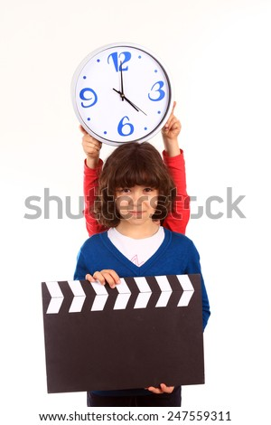 girl with a clapperboard - stock photo