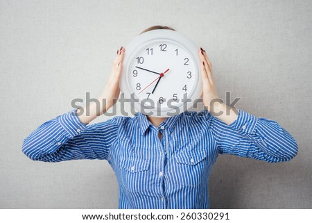 girl with a clock instead of a head
