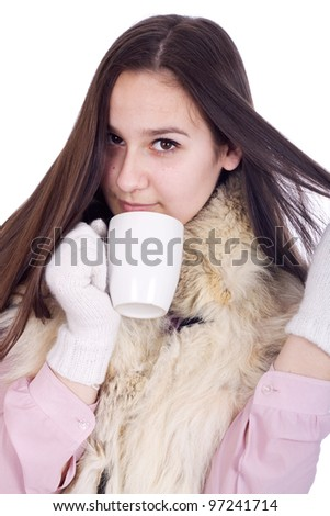 Girl with a cup of hot coffee or tea isolated - stock photo