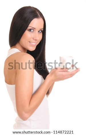 girl with a cup, smiling - stock photo