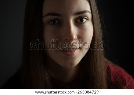 Girl with a deep kind eyes. Close