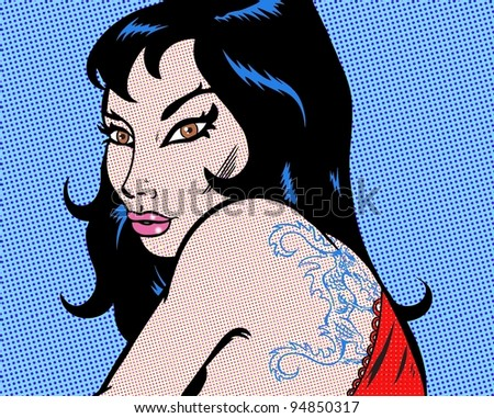 Girl with a dragon tattoo pop art illustration - stock photo