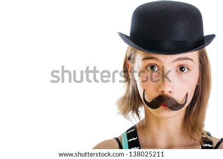 Girl with a fake mustache and a bowler hat on.