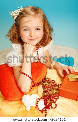Girl with a gift - stock photo