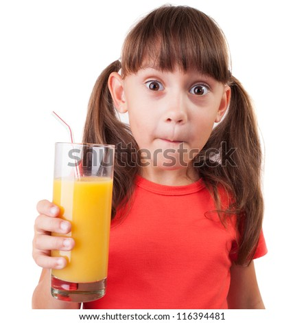 Girl with a glass of fresh orange juice - stock photo