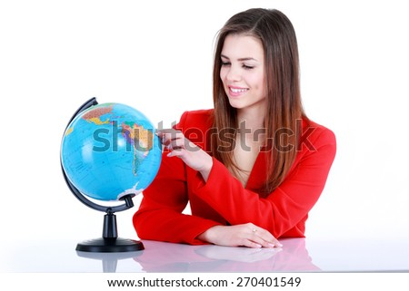Girl with a globe. Isolated on white background - stock photo