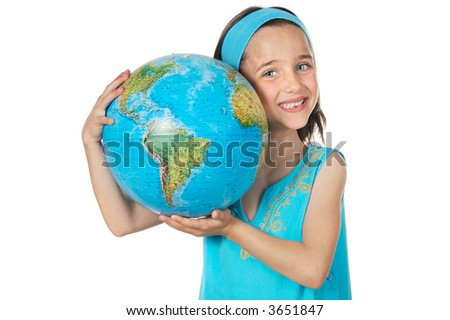 Girl with a globe of the world over white background - stock photo