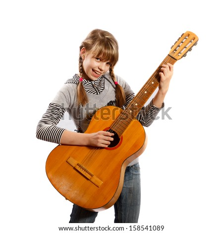 girl with a guitar in hand singing on a white background