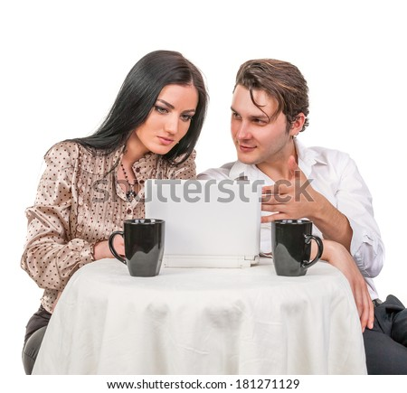 Girl with a guy in a cafe talking and used tablet computer isolated on white