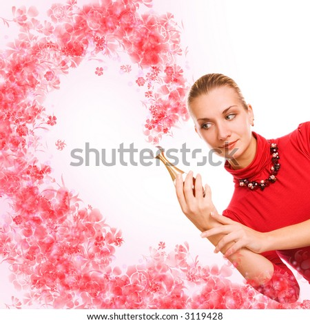 Girl with a magic phial - stock photo