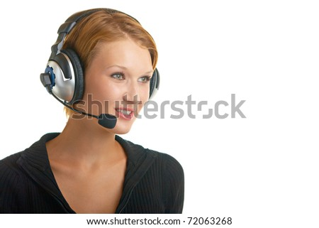 girl with a microphone and headphones on a white background