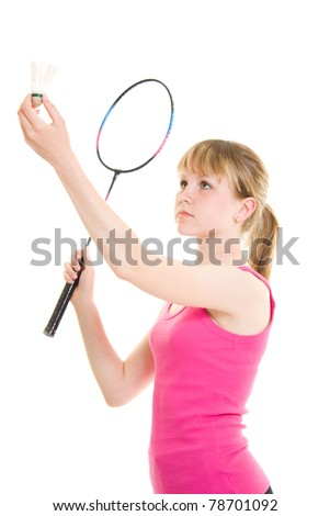 Girl with a racket on a white background. - stock photo
