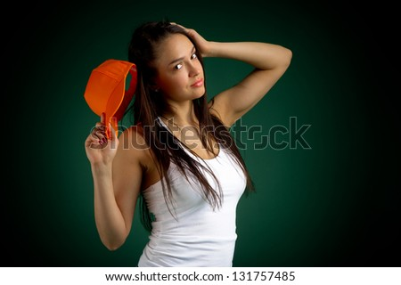 girl with a red baseball cap - stock photo