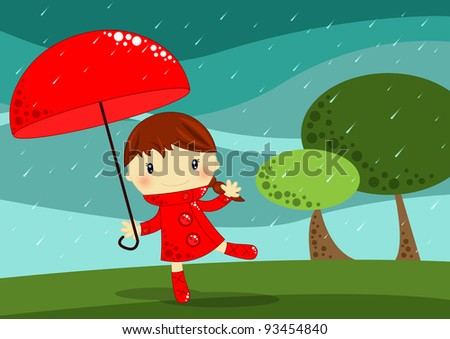 Girl with a red umbrella dancing and smiling in the rain - stock photo