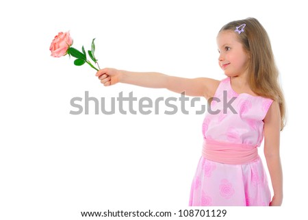 girl with a rose. Isolated on white background - stock photo