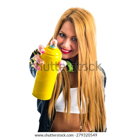 girl with a spray can - stock photo
