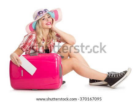 Girl with a suitcase going traveling