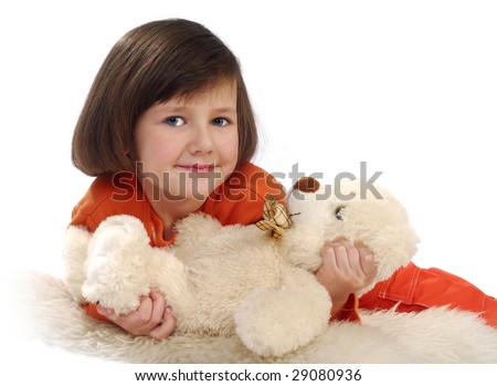 Girl with a toy bear