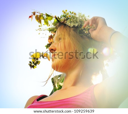 Girl with a wreath, a portrait.