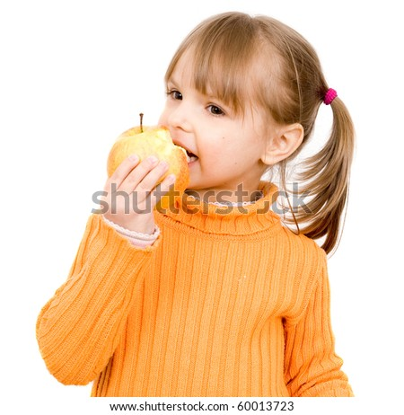 girl with apple - stock photo