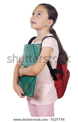 Girl with backpack and folder over white background - stock photo