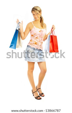 girl with bags. Comparison shopping. Sale!