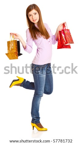 Girl with bags. Isolated on white background - stock photo