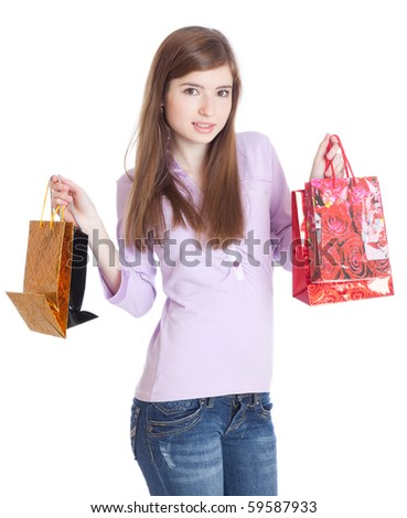 Girl with bags. Isolated on white background
