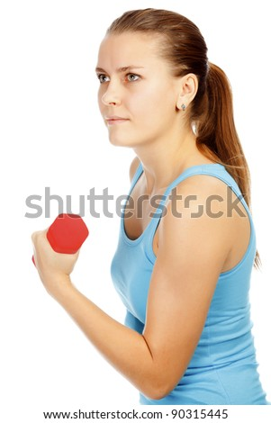Girl with barbells on white background
