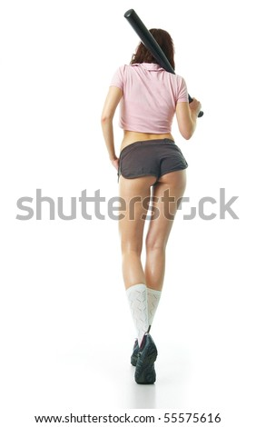 Girl with baseball bat - stock photo