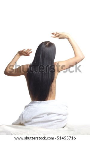 girl with beautiful hair from  back - stock photo