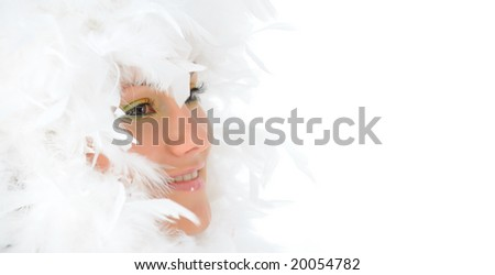 girl with beautiful makeup and white feathers