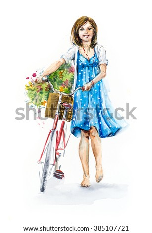 Girl with bicycle. Happy woman barefoot, in a blue dress, with flowers. Hand drawn watercolor illustration. Summer composition - stock photo