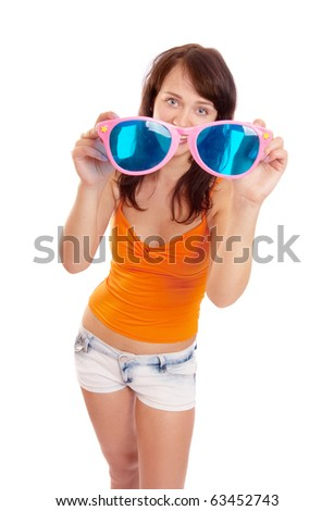 girl with big glasses isolated on white - stock photo