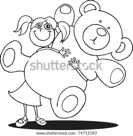 Girl Big Teddy Bear Coloring Book Stock Illustration 74712583 ...