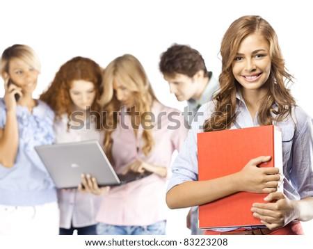 Girl with binder - stock photo