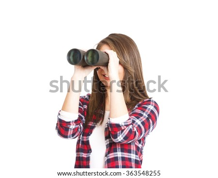 girl with binoculars isolated on white background