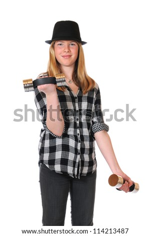 Girl with black hat and dumbbells