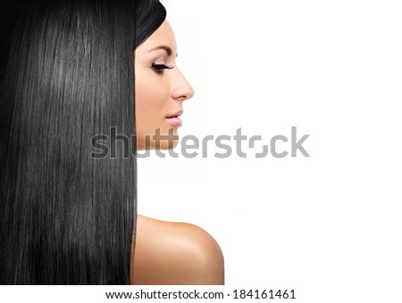 girl with black shining laminated hair - stock photo