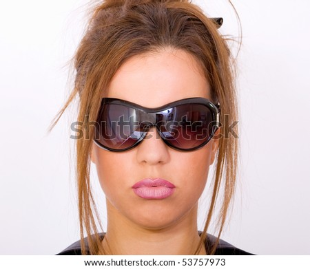 Girl with black sunglasses - stock photo
