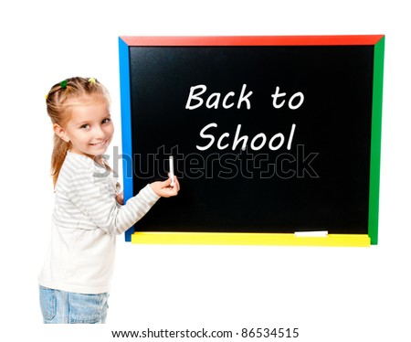 girl with blackboard isolated with back to school - stock photo