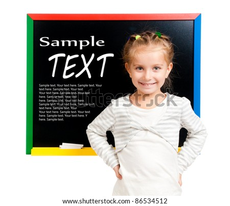girl with blackboard isolated with sample text - stock photo