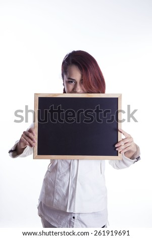 girl with blackboard over white background - stock photo